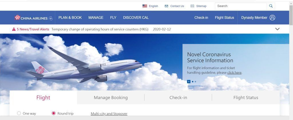 china airlines reservations website